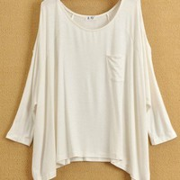 Women Euro Style Loose Casual Pocket Off the Shoulder Bat-wing Sleeve White Cotton T-Shirt One Size@WH0090w $12.99 only in eFexcity.com.