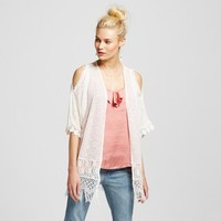 Women's Cold Shoulder Dolman Sleeve Slub Kimono - Almost Famous (Juniors') : Target