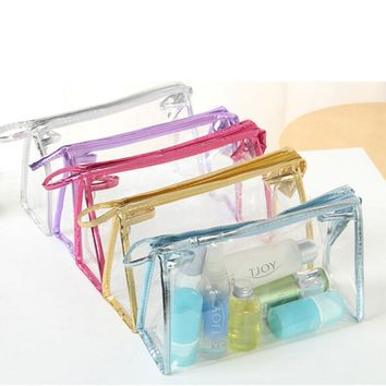 PVC Women Makeup Cosmetic Bag Waterproof Transparent Make Up Organizer Storage Wash Clear For Travel 5 Colors
