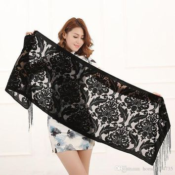 ONETOW winter pure colors floral scarf women burnout velvet shawl hot sale christmas gift