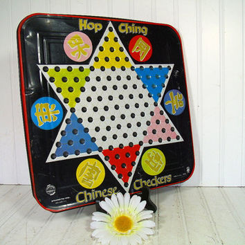 Vintage Chinese Checkers Colorful Enamel Metal Game Board - Retro PressMan Toy Hop Ching Well Worn GameRoom Decor - Man Cave Wall Hanging