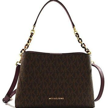 Michael Kors Portia Large East West MK Signature Satchel Crossbody Bag Purse Tote Hand