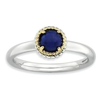 Sterling Silver Lapis 14KY Accent Cabochon Ring