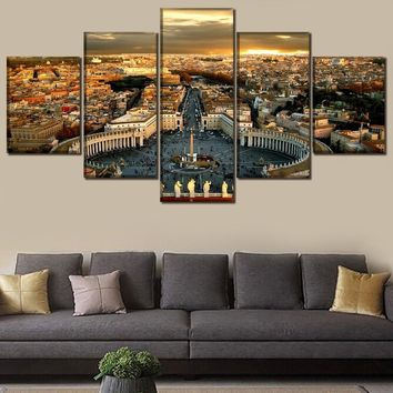 HD Printed Poster Decorative Modular Pictures Canvas 5 Pieces Italy Rome Vatican Paintings Modern Wall Art Decor Framework