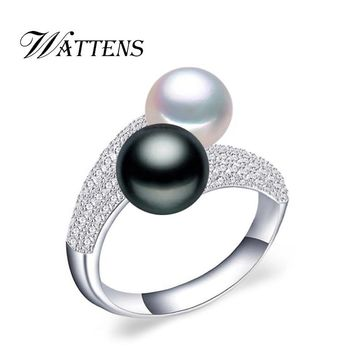 WATTENS new Pearl Jewelry,natural freshwater double Pearl rings,wedding 925 silver rings for women,Engagement Jewelry for love