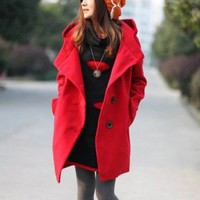 Wool Red Long Sleeve Big Lapel One-Breasted Big Cotton Hooded Woolen Coat  style IN02m088487