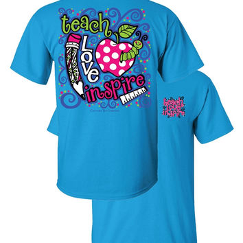 Southern Couture Teach Love Inspire Teacher Apple Girlie Bright T Shirt