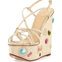 Elizabeth Jeweled Wedge Sandal, Natural