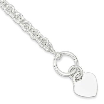 Sterling Silver 7mm Engraveable Heart Disc on Fancy Link Toggle Bracelet
