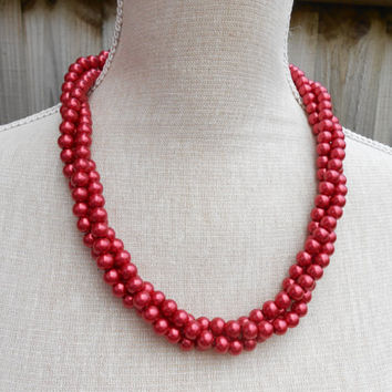 Red pearl necklace, great for Wedding, Bride, Bridal, Birthday gift, Christmas, Anniversary, Valentine, Mother day, Friends gift