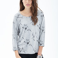 LOVE 21 Sketch-Floral Heathered Top Heather Grey/Black