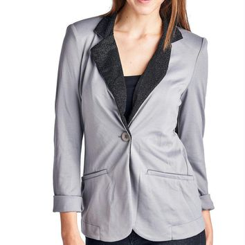 Women's Blazer with Contrast Glitter Lapell