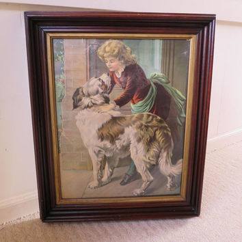 Antique Victorian Picture St Bernard Dog Girl in Velvet Dress Chromacolor Tint Litho Print Victorian Walnut Frame w/ Gilt  22.5 x 19 inches