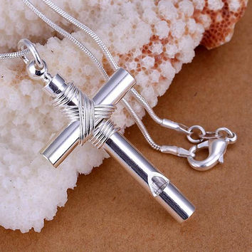 925 Silver Cross with Rope Necklace