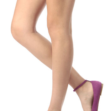 Purple Faux Suede Ankle Strap Pointy Flats