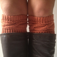 Orange Boot Liners Burnt Sienna Boot Cuffs Handknit Cabled Boot Toppers