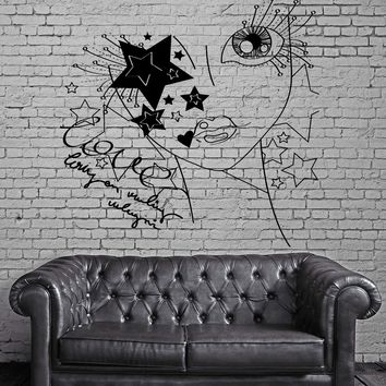 Hot Teen Girl In Love Star And Bee Decor Wall Stickers Vinyl Decal  (z2254)