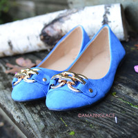 Gone With The Wind Royal Blue Suede Buckle Flats