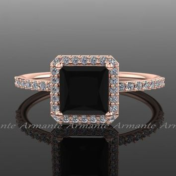 White And Black Diamond 14K Rose Gold Halo Ring