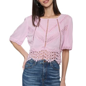 Willow & Clay Crepon Lace Top