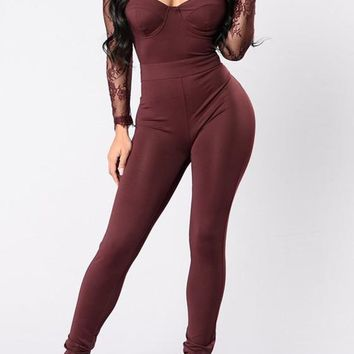 Burgundy Patchwork Lace Cut Out Hollow-out See-through High Waisted Long Jumpsuit
