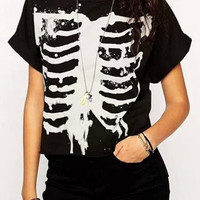 Black Skeleton Print Short Sleeve Graphic Tee
