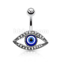 Evil Blue Eye Evil Eye Cz Navel NON Dangle Belly Ring Charm
