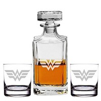 Abby Smith, Wonder Woman Engraved Decanter and Rocks Glasses, Set of 3