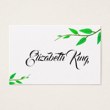 Green White Leaves Personalized Business Card