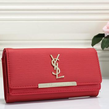 YSL Yves Saint laurent Women Shopping Leather Buckle Wallet Purse