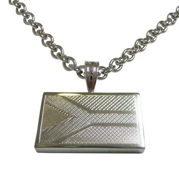 Silver Toned Etched South Africa Flag Pendant Necklace