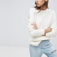 ASOS Chunky Jumper With Deep Cuff In Fluffy Yarn at asos.com
