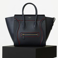 Mini Luggage Handbag with Interstice in Smooth Calfskin