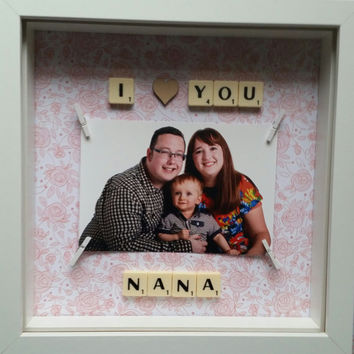 Birthday gift personalised Nanna kids present keepsake photo scrabble letters I love you grandparent scrabble family custom wall decor