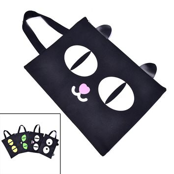 1PCS Cats Eye Printed Cosmetic Bags Women Canvas Tote Messenger Bag Handbags 4 Style