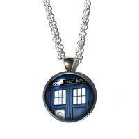 Doctor Who Necklace - TARDIS Necklace Silver Police Box Jewelry Police Box Necklace