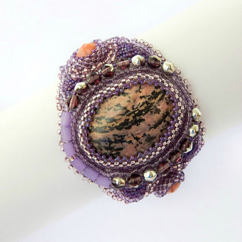 Beaded bracelet Purple fog - purple embroidered seed bead jewelry - handmade beadwork with natural stone rhodonite, genuine leather backside