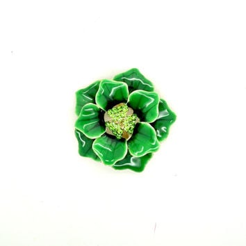 Vintage brooch, Antique green brooch, Enameled brooch, Green flower brooch, Enamel pin, 1950's brooch, Vintage jewelry, Rhinestone brooch