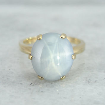 Star Sapphire Solitaire or Engagement Ring 14K Yellow Gold PLP288-N