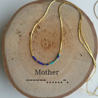 MOTHER Necklace Morse Code, Secret Message, Dainty necklace, Minimalist Personalized, Morse code jewelry, gold necklace, mother gift, Mom