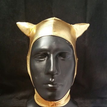 READY TO SHIP Sci-fi Space Cat Hat Unisex Metallic Gold Spandex Stretch Hood with Velcro Front Closure One Size