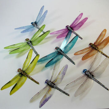 30 Mixed Colored Dragonflies Toppers Cake Decorations Wall Art Scrapbooking
