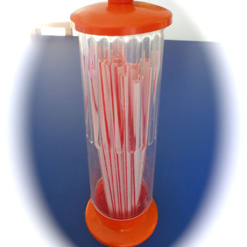 Vintage Mod Hot Orange Straw Holder Soda Fountain by KimBuilt