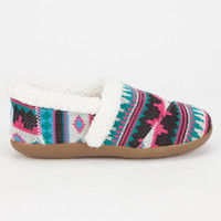 Toms Fair Isle Girls Slippers Fuschia  In Sizes