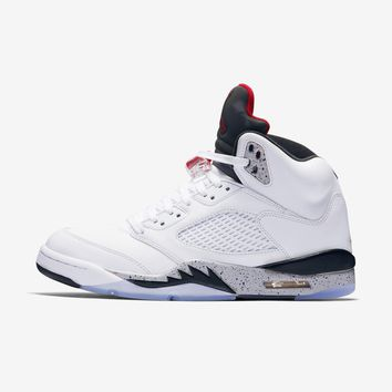 Best Deal Online Nike AIR JORDAN 5 RETRO White Cement White Black Silver College Red 136027-104