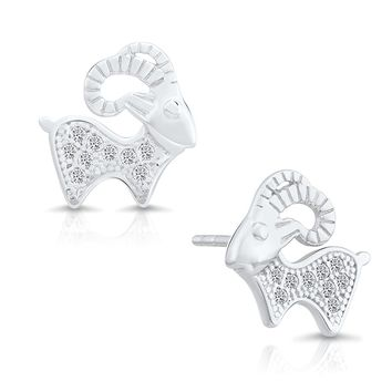 Sterling Silver Goat Earrings