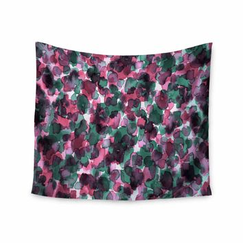 "Ebi Emporium ""WILD THING, PINK GREEN"" Magenta Green Animal Print Abstract Watercolor Mixed Media Wall Tapestry"