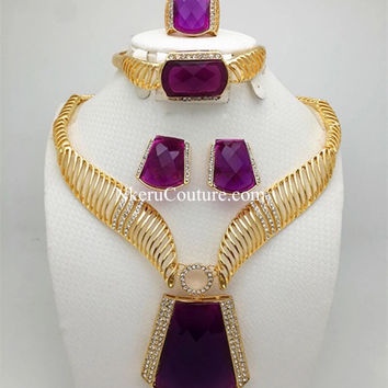 Bridal Nigerian Wedding African Beads Jewelry Set Fashion Dubai 18K Gold Plated Jewelry Sets WU88