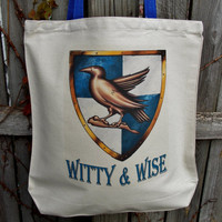 Witty And Wise Tote Bag.  Raven House Fandom Bag. Cotton Canvas Bag.