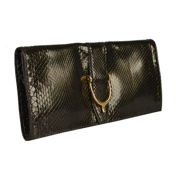 Gucci Women's Deep Olive Green Python Skin Clutch Handbag Bag